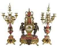 FrenchStyle 3Piece Clock Garniture