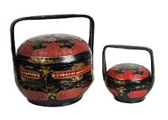 Two Chinese Round Stacking Box Sets