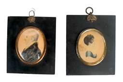 Two Portrait Miniatures - Man & Woman
