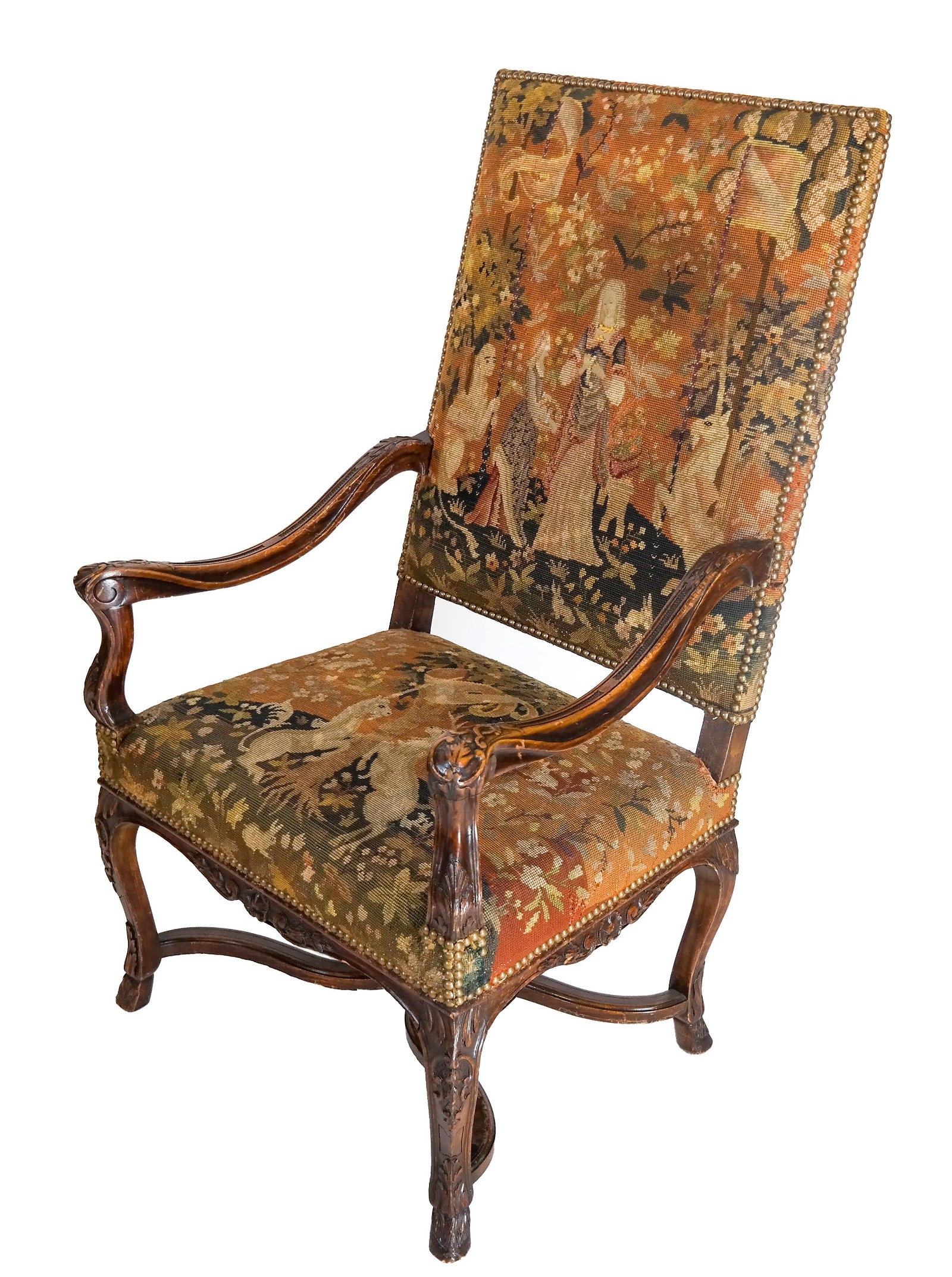 Antique Needlepoint Arm Chair
