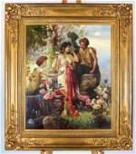 Hans ZATZKA: Three Young Women in a Garden - O/C