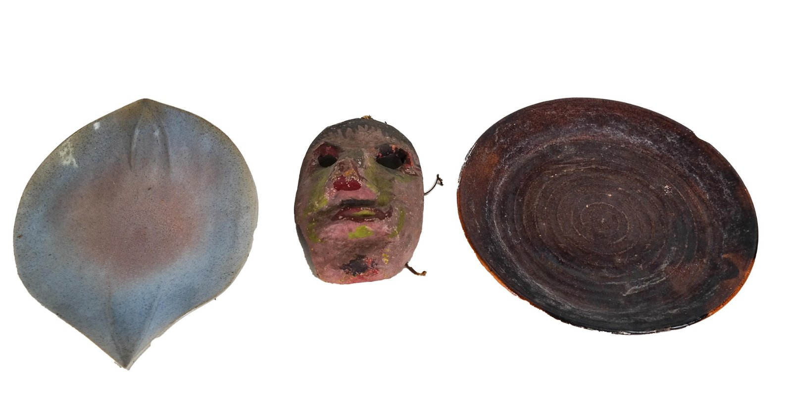 Two Ceramic Dishes and a Folk Art-Style Mask