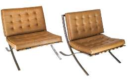 Pair Mies Van Der Rohe-Style Barcelona Chairs