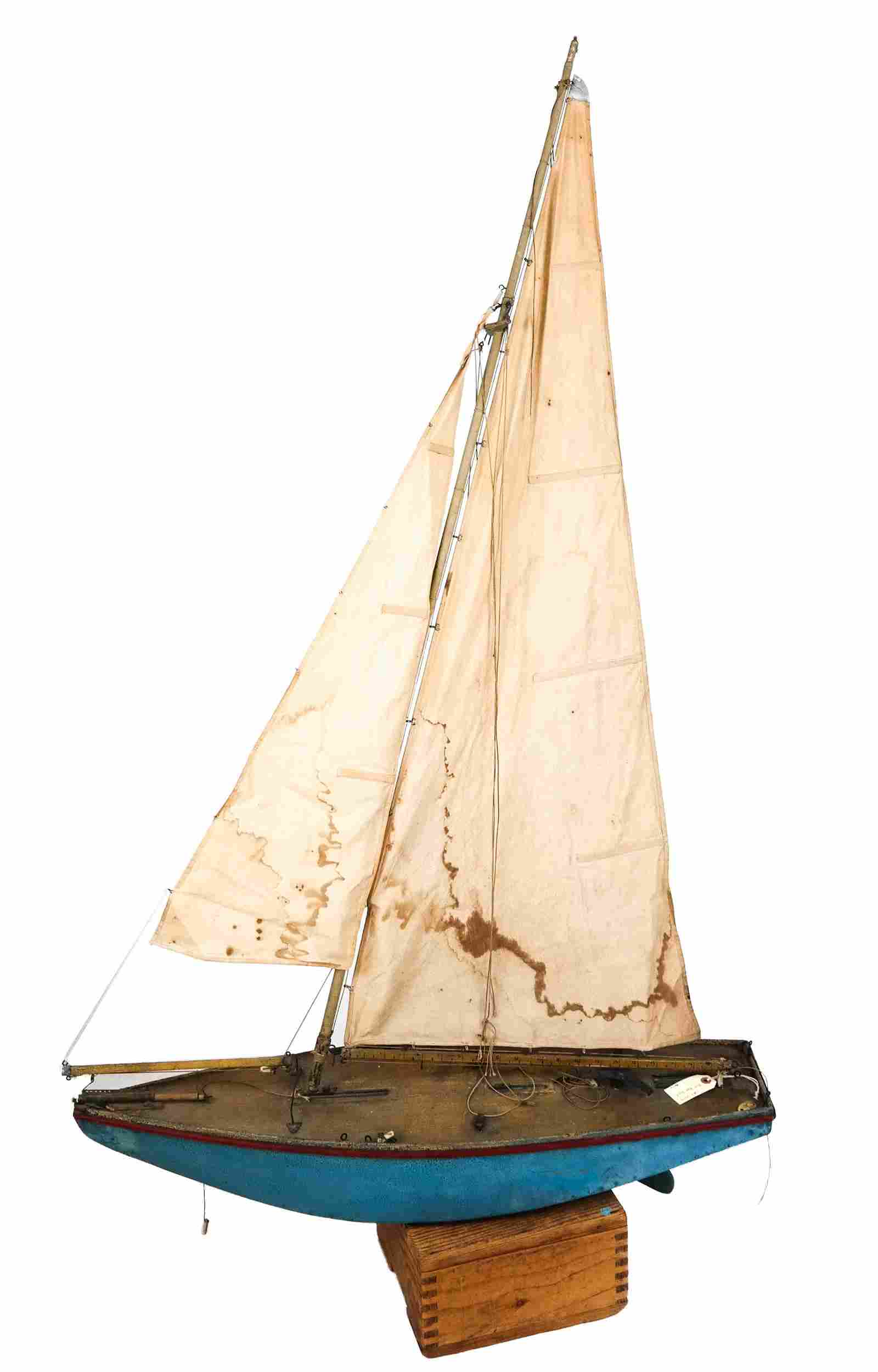 Large Vintage Wood Pond Sailing Boat