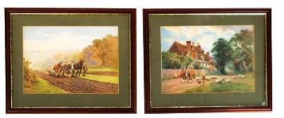 Charles J. ADAMS: Horses, Farmers - Two Prints