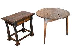 Walnut Table and Oak Table
