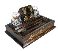 19th C. Calamander Wood Inkwell Set