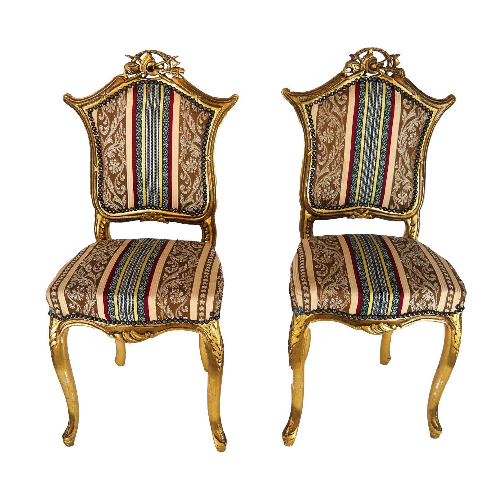 Pair Diminutive 19th C. Slipper Chairs