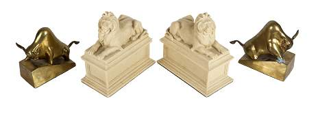 Two Pairs Bookends Bulls Lions