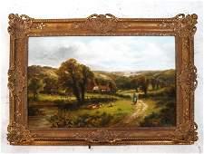 Fred CARLTON Pastoral Landscape  Oil on Canvas