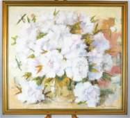 Paul G. KLEIN: White Flowers - Oil on Canvas