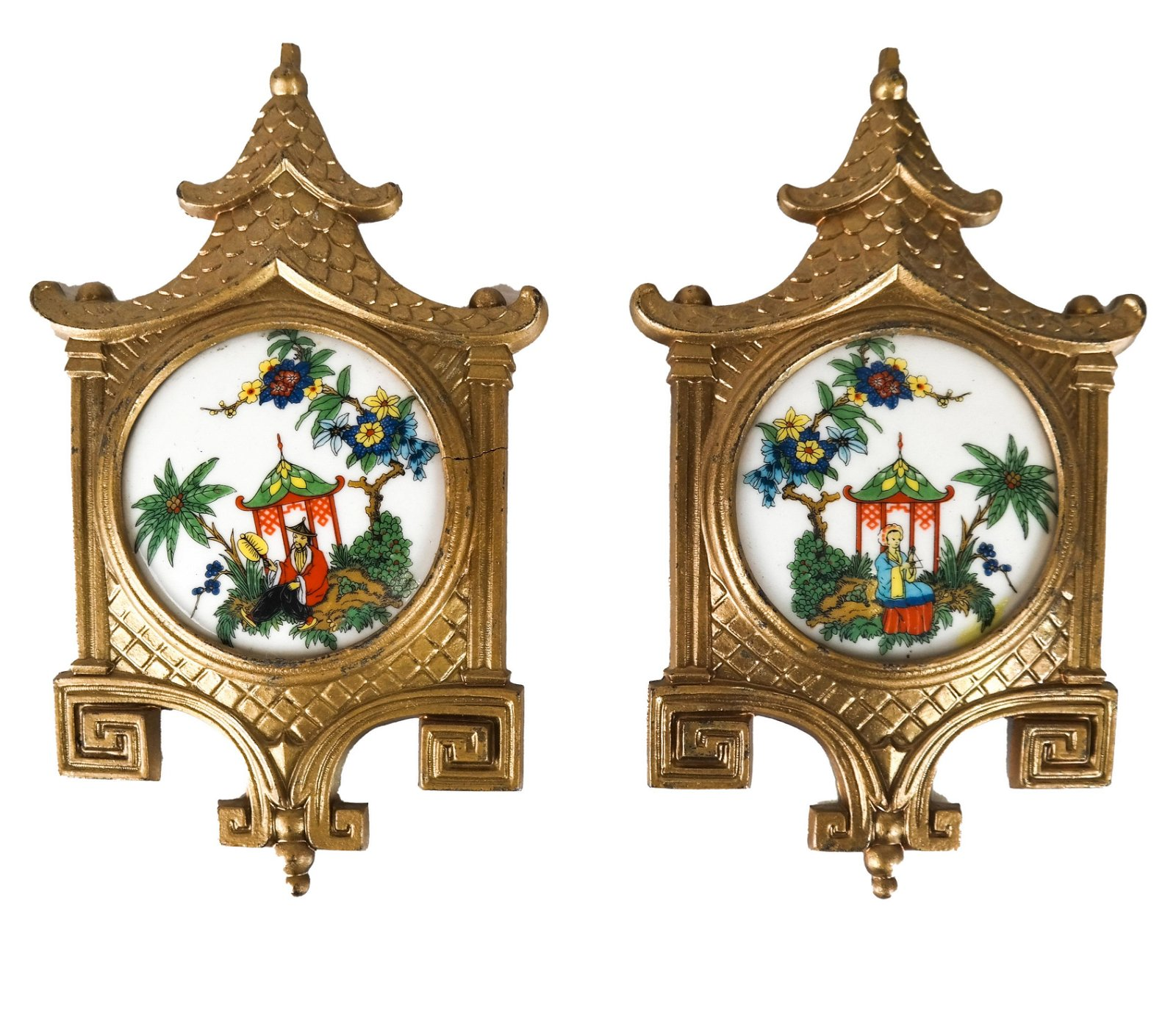 Pair Vintage SD Baker Corp. Samson China Plaques