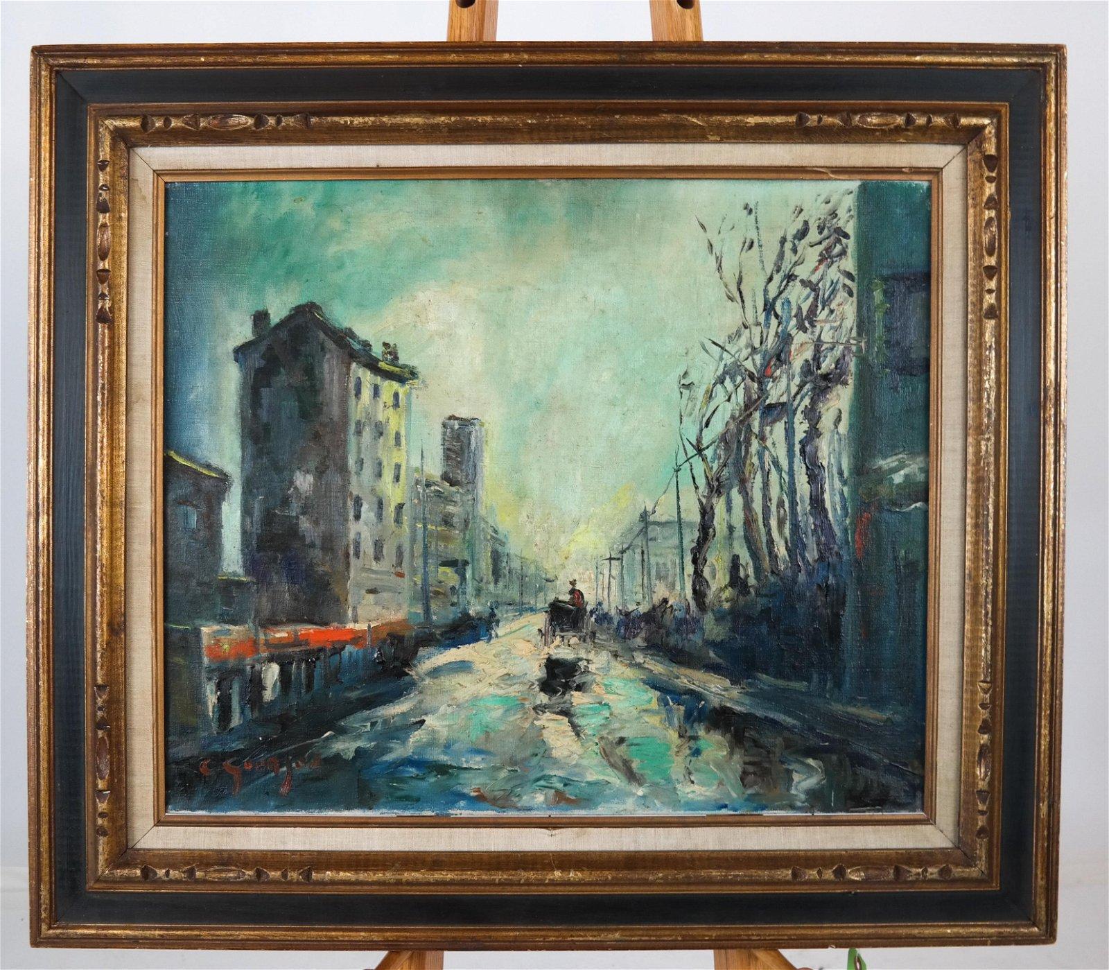 C. GOURJON: Impressionist Street Scene