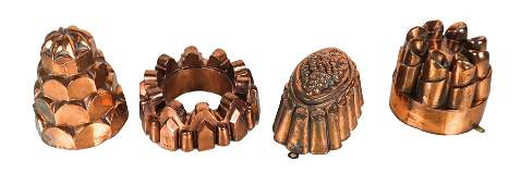 Group of Four Vintage Copper Jelly Molds