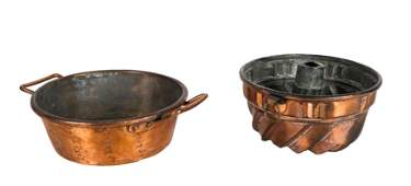 Two Vintage Copper Cake Molds