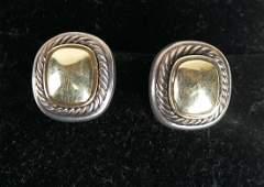 David Yurman 18K Gold & Silver Earrings