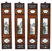 4 Chinese Hardwood Panels w/ Plaques