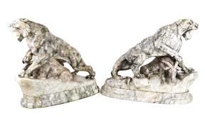 Pair of Marble Lion Sculptures