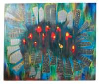 Contemporary Cityscape - Oil on Canvas