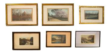Six Wallace Nutting Colored Engravings of Landscap