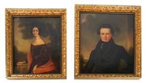 Pair Portraits, Man, Woman- Oil on Canvas