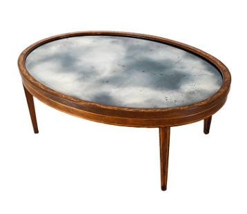 Edwardian-Style Oval Mirror Coffee Table