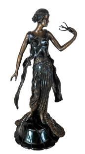 Art DecoStyle Bronze Female Sculpture