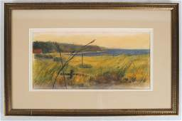 R. VALDES: Landscape - Watercolor