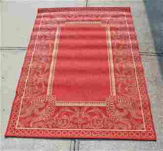 Red White Woven Floor Covering