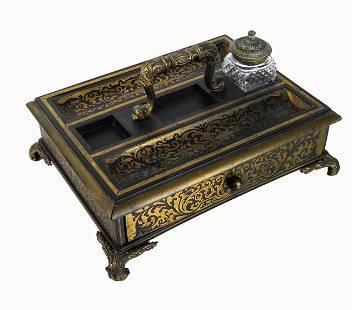 Regency Brass Inlaid Ebony Ink Stand