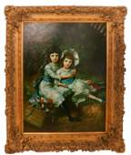 G. BLUMEN: Two Girls - Oil on Canvas Reproduction