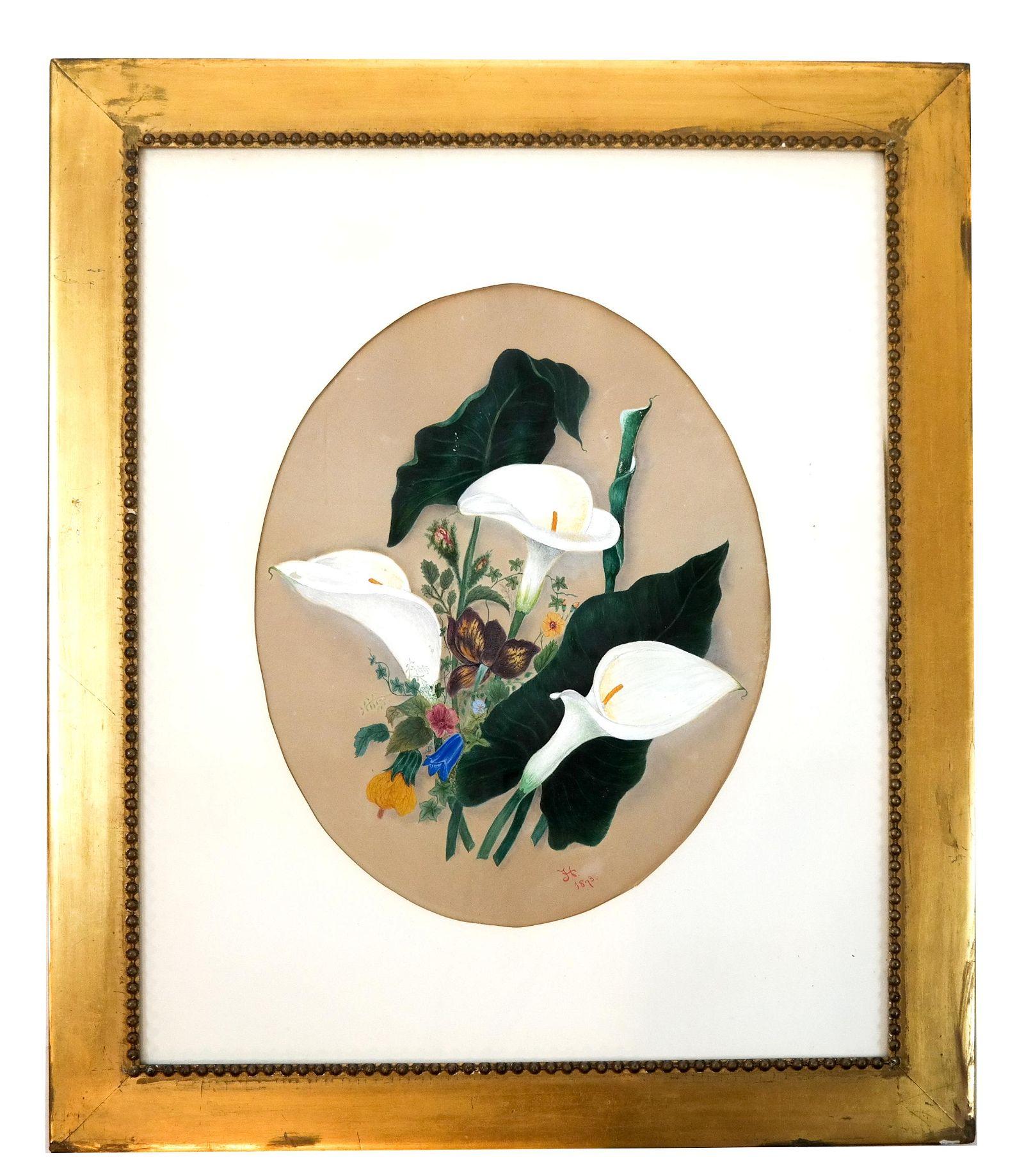 """J.H."" 1873: Lilies - Watercolor"