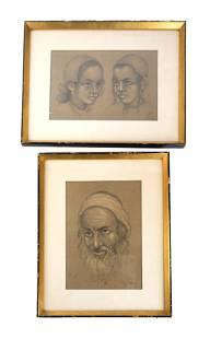 J EISENBERG 2 Judaic Drawings Graphite on Pape