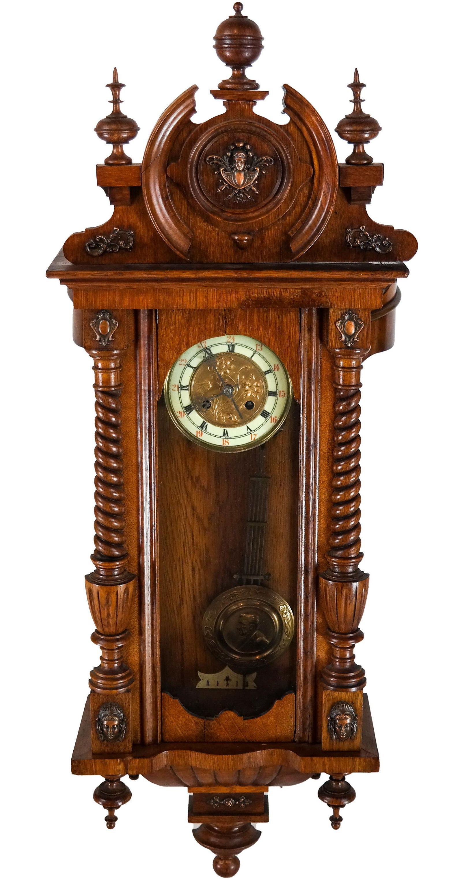Victorian Oak Wall Regulator Clock