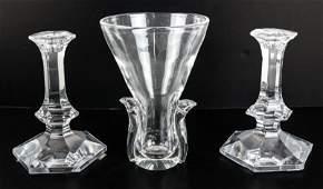 Pair Val St. Lambert Candlesticks, Steuben Vase