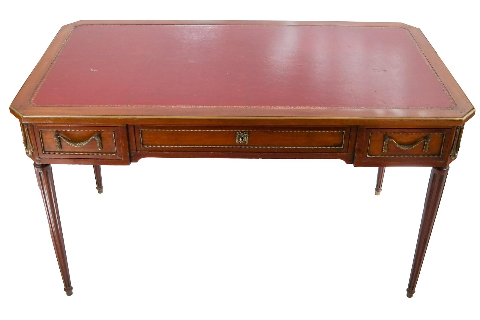 French Louis XVI-Style Mahogany Bureau Plat Desk