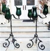 Pair Art Nouveau Glass & Iron Torchieres