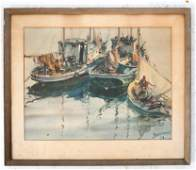 James SESSIONS: Fishing Boats - Watercolor