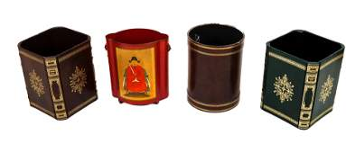 Four Decorated Waste Baskets