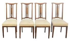 Set of Four Art Nouveau Side Chairs