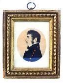 Miniature 19th C. Portrait Profile Painting