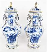 Pair Chinese Export Blue & White Covered Vases