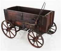 19th C. Wrought Iron & Wood Wagon Model
