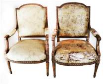 Pair 19th C French Gilt Wood Arm Chairs