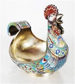 Russian Silver & Champleve Enamel Rooster Kovsh