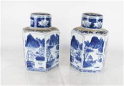 Pair Chinese Blue  White Covered Jars