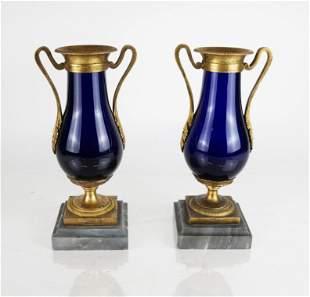 Pair of French Louis XVI Bronze Mounted Vases