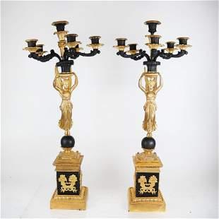 Pair French Empire Bronze Candelabra