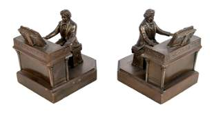 Pair of Patinated Bronze Beethoven Bookends