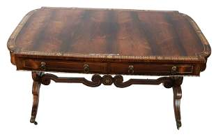 19th C. Regency Brass Inlaid Desk